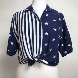 Vintage Blue Stars Stripes Top Short Sleeve